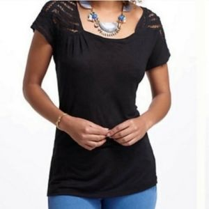 Anthropologie Vanessa Virginia Black Lace Blouse